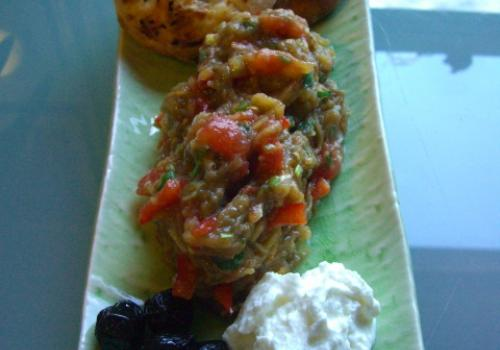 Pide with patlican salatasi, yogurt and black olives<br>